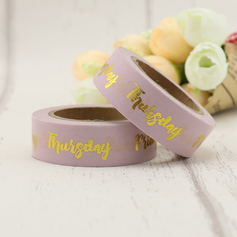 1 Roll Gold Words Weekdays Foil Washi Tape Kerst Masking Decorative Christmas Washi Tape 10m