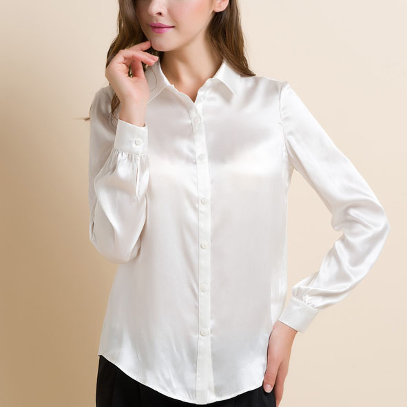 c9b68f8be2d66 S-XXXL women Fashion silk satin blouse button ladies silk blouse shirt  casual office Black White Rose Red long sleeve satin