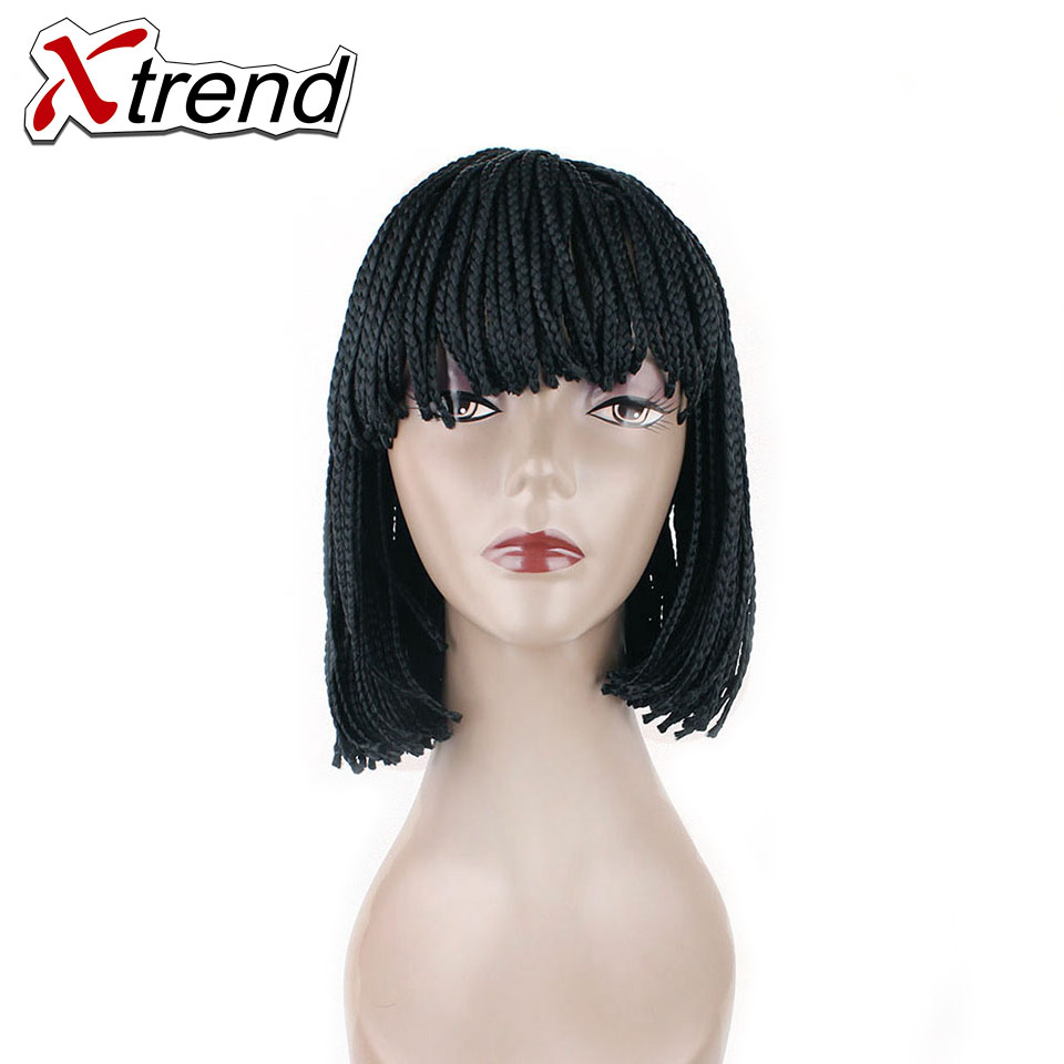 10 12inch Braided Box Braid Wig Heat Resistant Synthetic Wig with ...