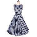 Vintage women dress 2016 verano vestidos de punto de impresión elegante audrey hepburn mangas slash cuello del vestido de bola delgado dress xl ajuste flare