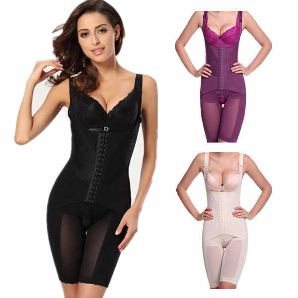 Plus Size Women Bodysuits Beauty Magic Fat Burning Sculpting Slimming Abdomen Bodyshaper Hook Corset Shapers Shapewear 4XL