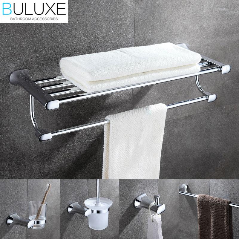 BULUXE laiton luxe salle de bains accessoires porte-serviettes porte-anneau brosse à dents support de verre Acessorios de banheiro Set HP7724