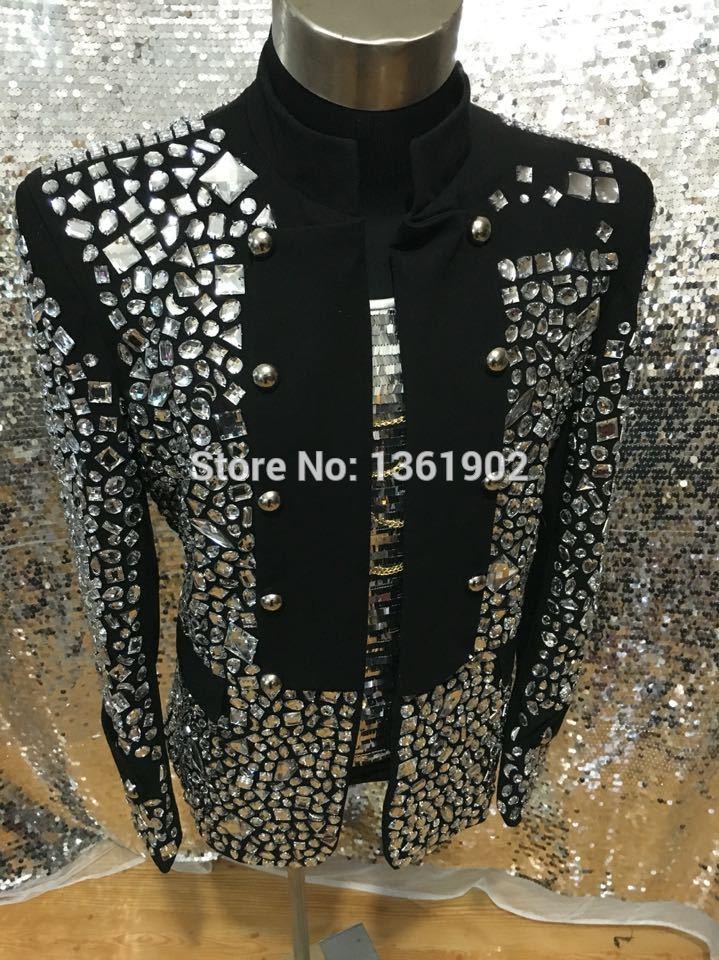 Plus size Custom made schwarz Crystal Jacke Sänger Tänzer Leistung - Herrenbekleidung - Foto 5
