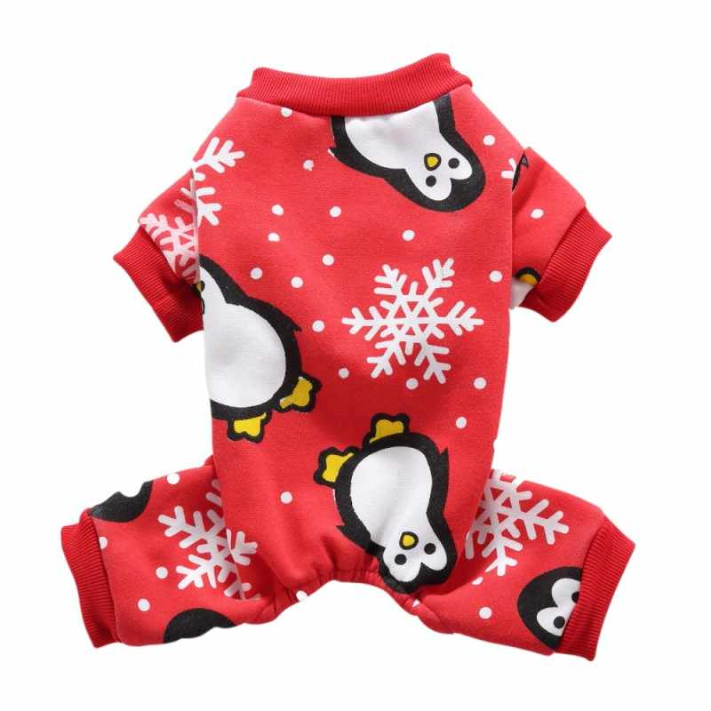 Christmas Pajamas For Dog.Cute Penguin Xmas Pet Clothes For Dog Pajamas Soft Christmas Winter Warm Sweater