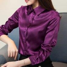 1b3bee9e2813d Stinlicher Saten Ipek Gömlek Kadın Sonbahar Uzun Kollu Zarif Iş Elbisesi  Tops Kore Moda Mor Yeşil