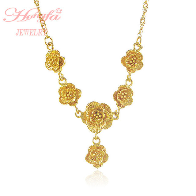 d38818f0dfb Free Shipping Wholesale Real 24k Yellow Gold Rose Necklace Dubai African  Gold Chain Pendant Fashion Women jewelry Necklace JP006