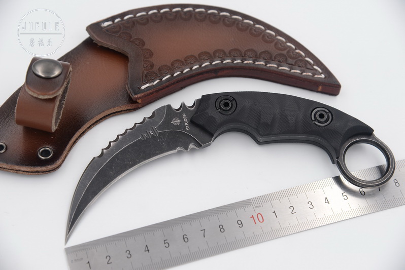 JUFULE Made Strider <font><b>karambit</b></font> D2 Sheath leather <font><b>G10</b></font> handle utility outdoor survival camping hunt tool Fixed blade kitchen knife image