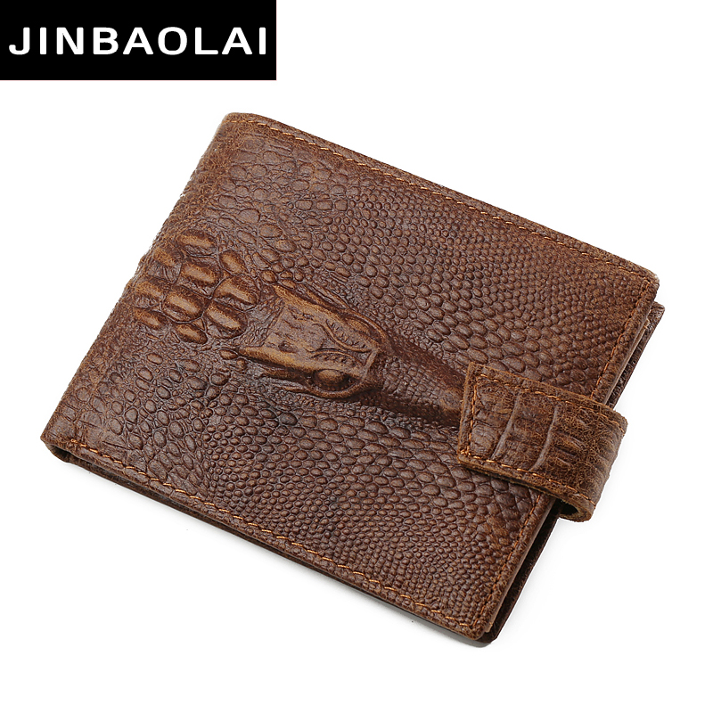 JINBAOLAI Fashion Genuine Leather Men Wallets Bifold Wallet ID Card holder Coin Purse Pocket Brand Male Credit & Id Card Wallets men wallet male cowhide genuine leather purse money clutch card holder coin short crazy horse photo fashion 2017 male wallets