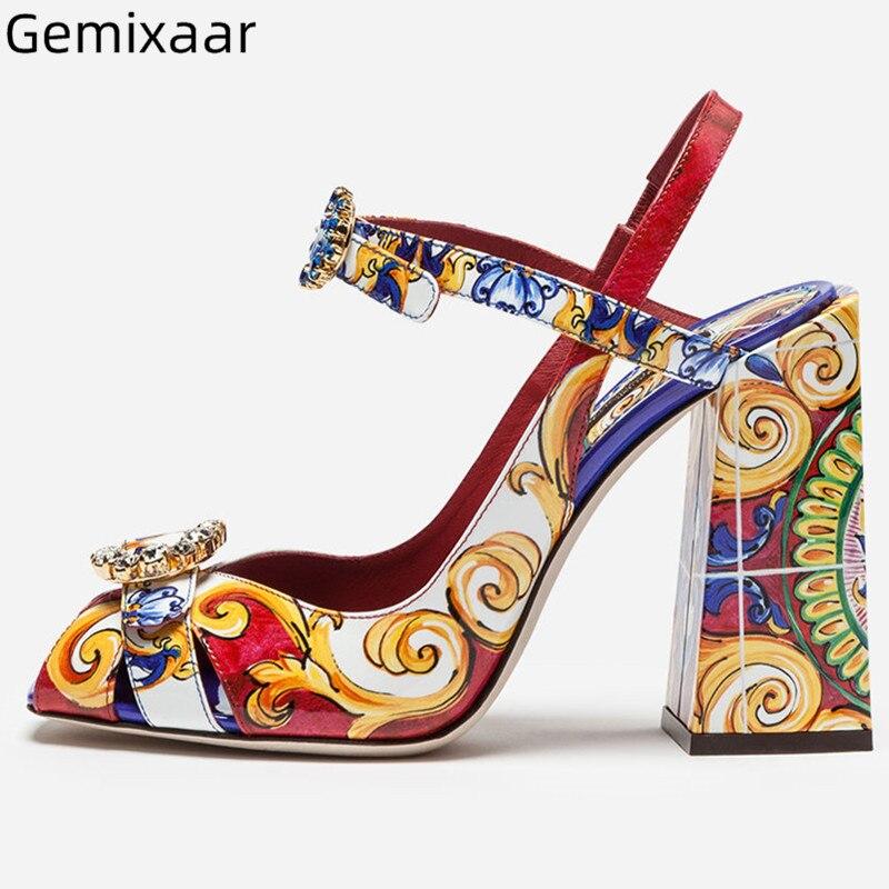 Graffiti Sandales chaussures femme Peep Toe décor bijoux étroite cheville boucle Sandales Chic coloré Chunky talons carrés Sandales femmes