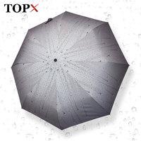 Creative Raindrop Attern Automatic Umbrella Rain Women Men 3Fold Light And Durable Strong Umbrellas Kids Rainy