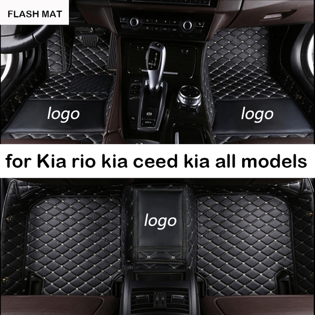 Custom LOGO car floor mats for kia ceed kia rio 4 spectra kia sportage 3 picanto cerato k2 auto accessories car mats