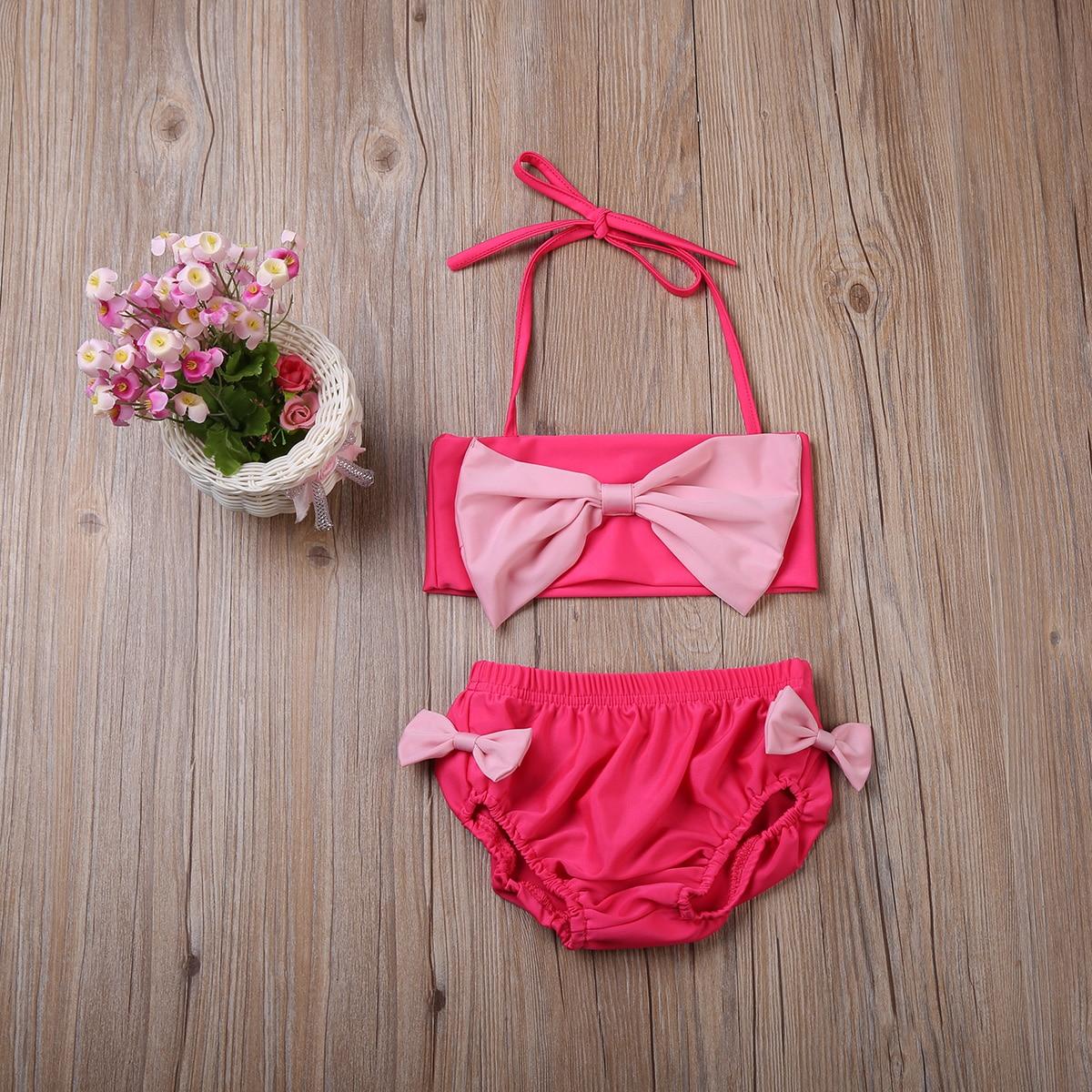 2017 Age 2-7Y 2PCS Baby Girls Summer Pink Swimwear Kids Children Swimsuit Bikinis Set Cute Bow Swimsuit Global Free Shipping New