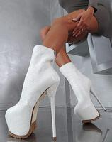 2019 Newest White Red Black Snakeskin Knee High Boots Round Toe High Platform Mid Calf Boots for Women Sexy Ridding Boots