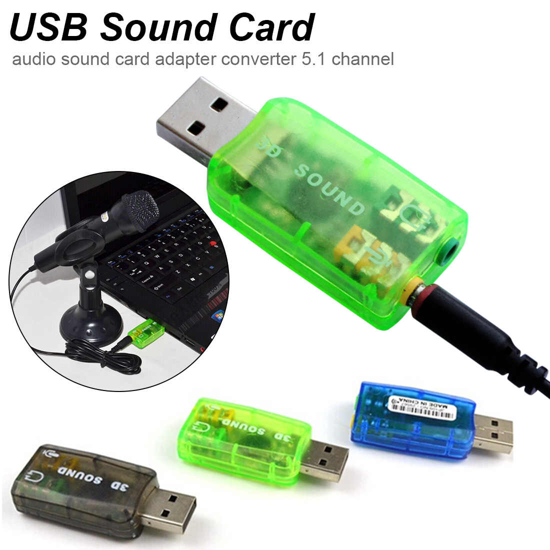 Green 5.1 USB External Stereo Sound Card with 3.5mm Headphone and Microphone Jack Converter for Windows Desktop Mac USB 3D Sound Card Laptop Linux PC