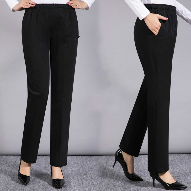 Autumn Winter Women Solid Color Straight Pant Elegant High Elastic Waist Trousers Female Casual Pantalon Femme Plus Size 5XL in Pants amp Capris from Women 39 s Clothing