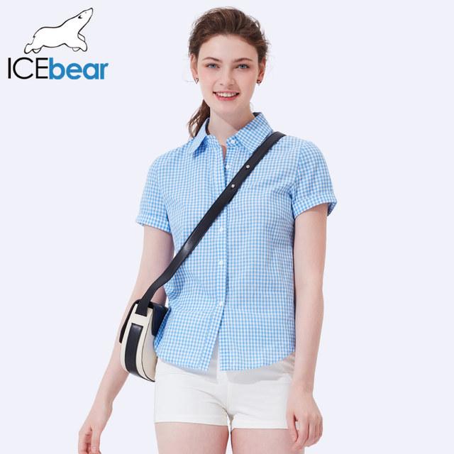 ICEbear 2017 New Arrival Summer Women Fashion Blouse Loose Turn -down collar Short Sleeve All Match Woman Blouse 2003D