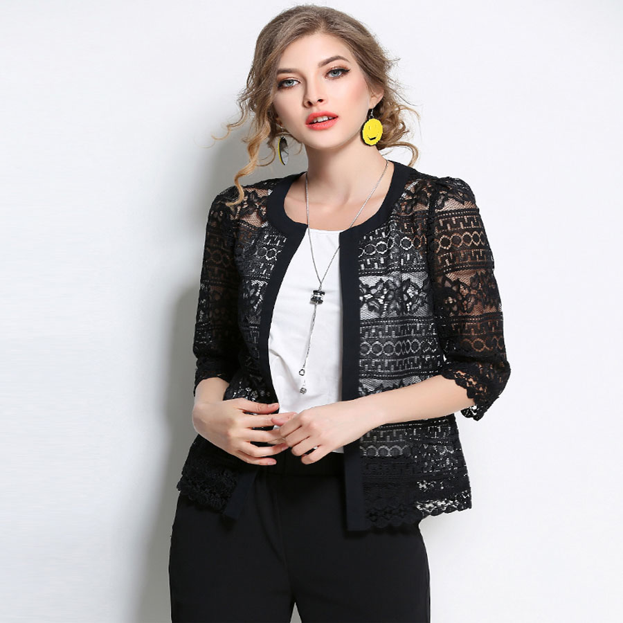2018 Neue Frauen Plus Größe Kleidung 5xl 4xl Sommer Damen Frühling Sommer Strickjacke Mantel Schwarz Häkeln Sexy Weibliche Weiße Spitze Jacke