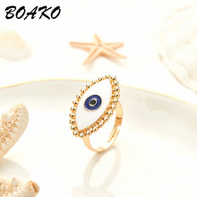 Blue Evil Eye Adjustable Rings for Women Gold Color Dripping Oil Wedding Opening Engagement Ring Midi Knuckle Jewelry Gift