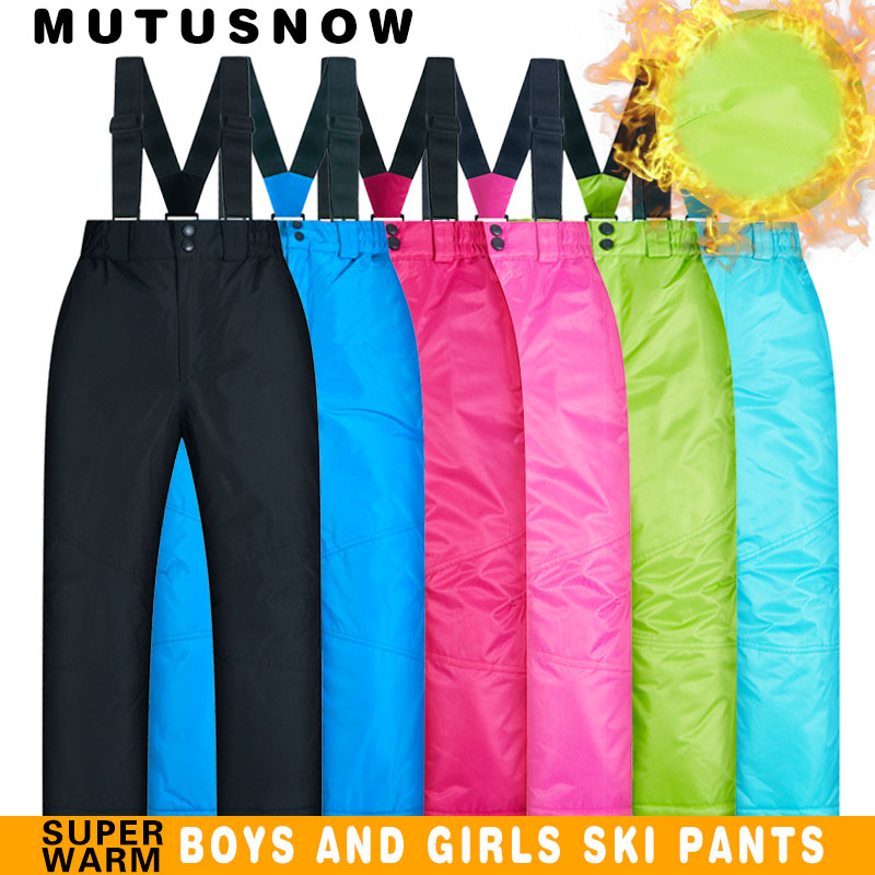 Ski Pants Kids Boys And Girls Outdoor Thicken Windproof Waterproof WarmSnow Children Trousers Winter Skiing And Snowboard Pants paola rodriguez платье до колена