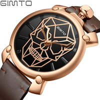 2018 Creative Skull Men Watch Brand Luxury Gold Clock Male Military Watches Casual Vintage Leather Waterproof Wristwatch relogio