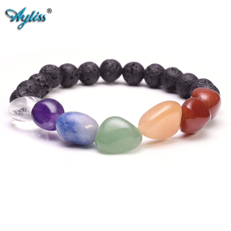 Ayliss Irregular 7 chakra Tumbled Gem Stones Elastic Stretched Bracelet With Lava Rock Stone Essential Oil Beads Healing Balance