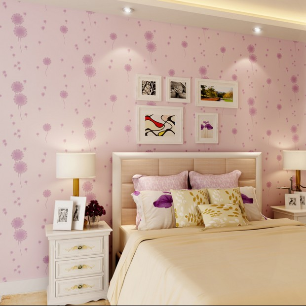 new hot selling 2016 non-woven wallpaper girl dandelion wall paper sitting room the bedroom of rural children room sweet pink the power of benefits selling