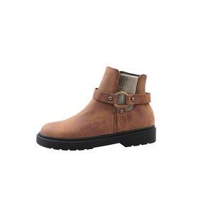 Image 4 - QUTAA 2020 dorywczo okrągłe Toe PU skórzane botki moda ozdoby metalowe kwadratowy obcas zamek zimowe buty damskie duży rozmiar 34 43