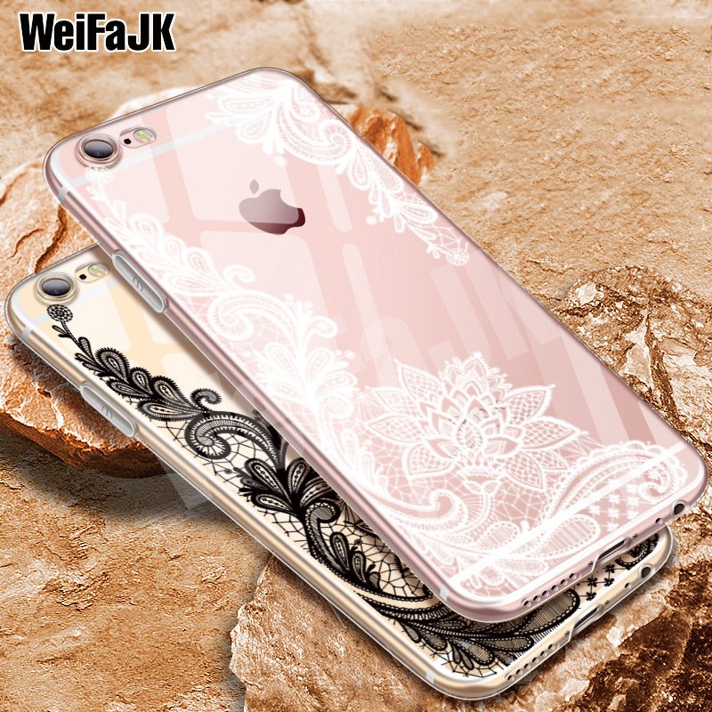 WeiFaJK Luxury 3D Lace Flower Silicone Case For iPhone 6 5s For iPhone 7 Cases Soft TPU Full Cover For iPhone 6 6s 7 8 Plus Case