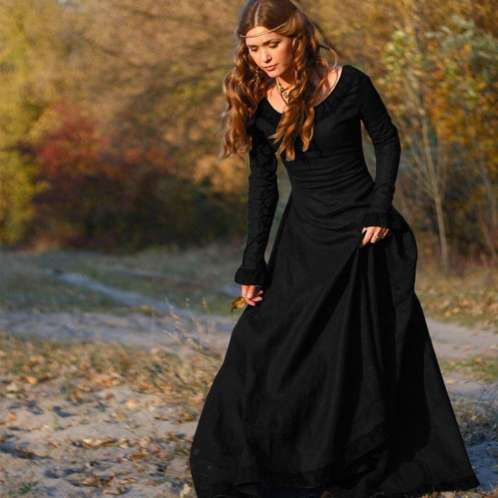 Feitong 2018 New Women Vintage Medieval Dress Cosplay Costume Princess Renaissance Gothic Dress