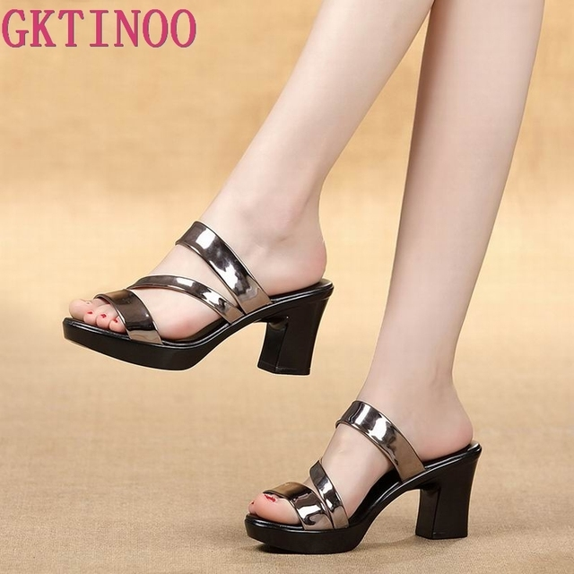 GKTINOO sandalias deslizantes para mujer, zapatos de tacón alto grueso, con plataforma, para verano, 2020
