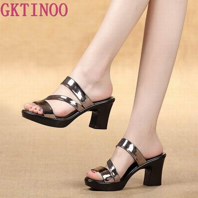 Gktinoo sandálias femininas, chinelos para mulheres, sapatos de salto alto grosso plataforma para mulheres verão 2020