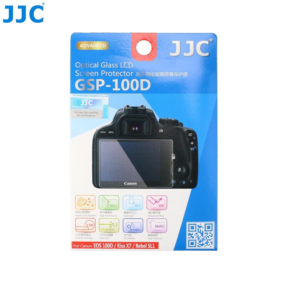 JJC Anti-Bubble Anti-scratch Anti-fingerprint Ultra-thin 9H Tempered Glass Screen Protector For Canon EOS 100D Kiss X7 Rebel SL1