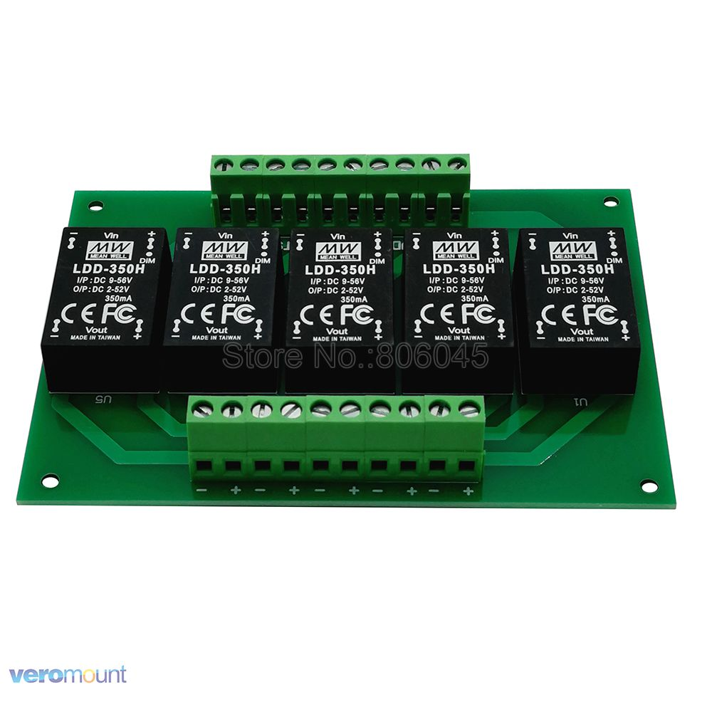 Meanwell LDD 5UP 350H DC - DC Constant Current Step-Down LED Driver +PCB Board For DIY 5 Channel Aquarium Fish Tank Led Emitter