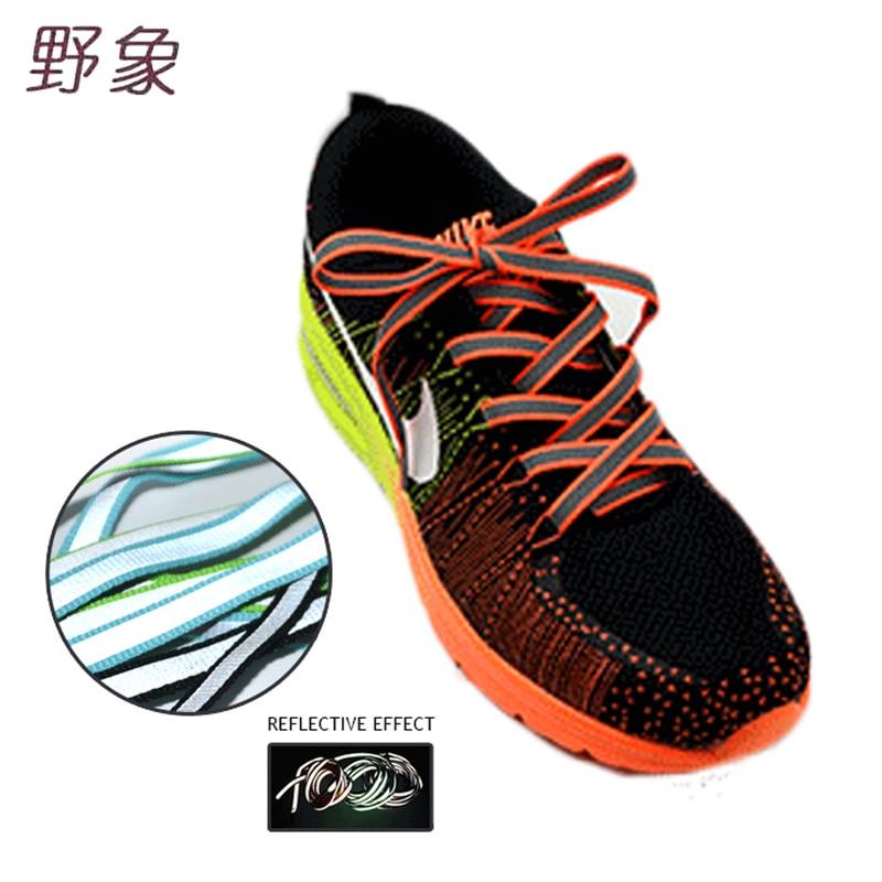 2018 nieuwe sneakers dames style1cm breedte reflecterende sportschoen veters hoge zichtbaarheid plat schoenkant in duisternis Safty shoestrings