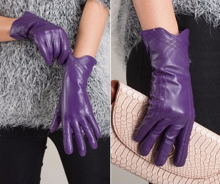High Quality Women Genuine Sheepskin Winter Women Leather Gloves Lady knitting lined Warm Winter Mittens women gloves 50