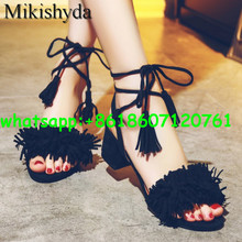 Summer 2016 Nigerian Shoes And Matching Bags Pink Leather High Heels Fringed Peep Toe Sandals Eur33-43 Womens Dress Shoes Chunky