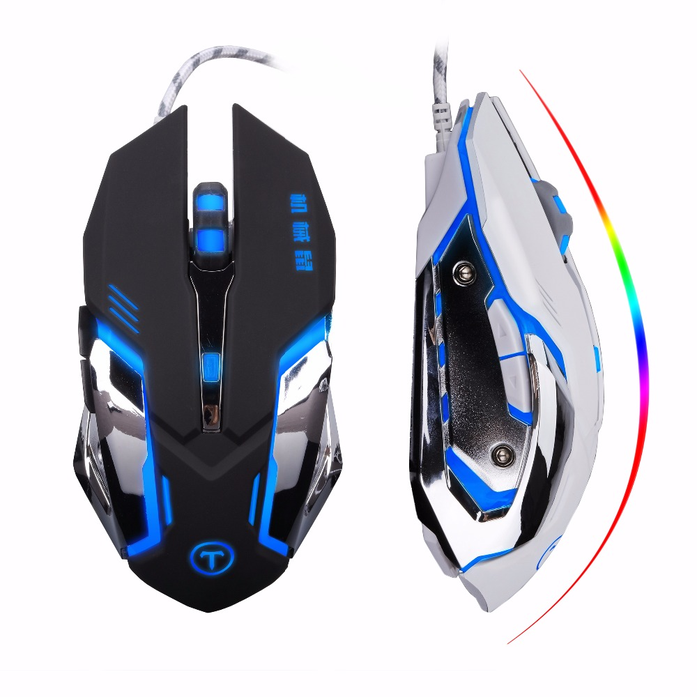 Gaming Mouse 6 Buttons Adjustable 3200DPI Optical Macro Programming wired USB Game Mouse 4 Color Breathing Variable Light Mice