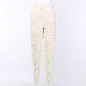 Image 5 - Autumn Winter Faux Fleece Fur Jogger Pants Women Beige Lamb Wool Sweatpants Ladies Velvet Trouser Loose Fuzzy Warm Pants