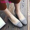 Vallkin 2017 mulheres bombas elegantes sapatos ol das mulheres sapatos de casamento Toe Quadrado de Couro genuíno Deslizar sobre Primavera Outono Shoes Tamanho 34-40