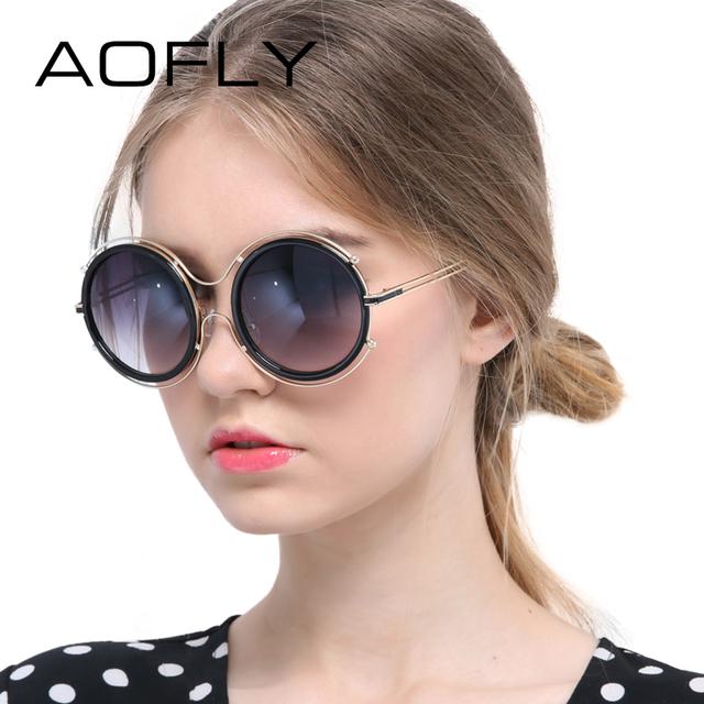 Mulheres óculos de sol da lente do espelho aofly shades metal frame redondo óculos de sol para as mulheres marca de designer de verão estilo eyewear uv400