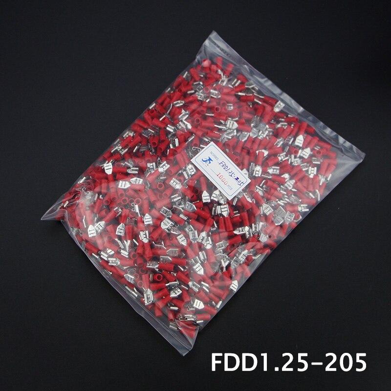 1000pcs FDD1.25-205 Pre-insulating Female Terminal Brass 22-16 A.W.G