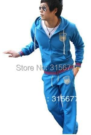 free shipping fashion sports wear for men  gym suits cotton leisure tracksuit/ sweatsuit wholesale & retail 4 color M-XXXL YJ77