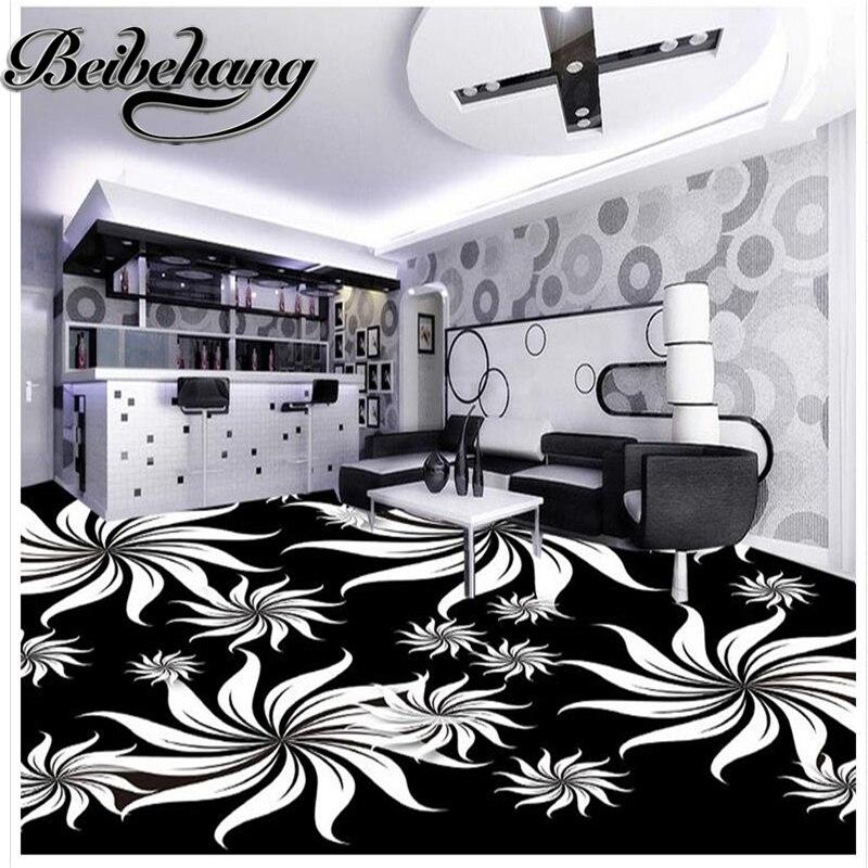 beibehang Custom Floor bathrooms self-adhesive 3D PVC waterproof floor Black and white artistic pattern Decorative floor pain