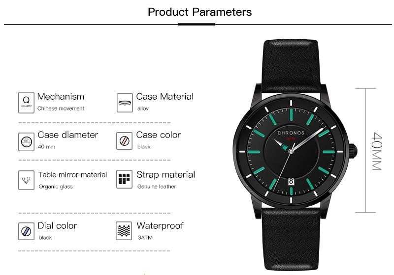 Reloj de los hombres de cuero genuino impermeable reloj de pulsera de - Relojes para hombres - foto 5