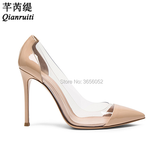 56717ffba4f Qianruiti Pvc Transparent Clear High Heels Ladies Party Office Shoes Slip  On Patchwork Sexy Pointed Toe