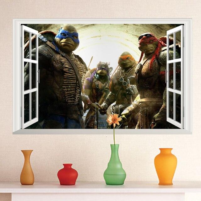 Ninja Turtles Slaapkamer.Venster Teenage Mutant Ninja Turtles Serie Cartoon Sticker 3d