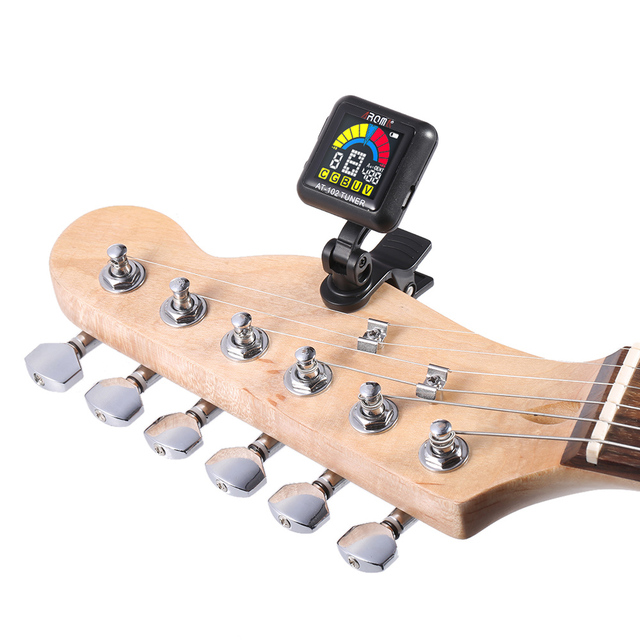 Rechargeable Clip-on Guitar Tuner with Built-in Battery