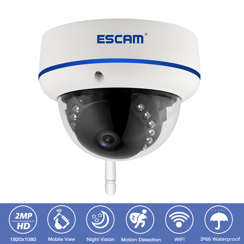 Escam QD800 Outdoor IP66 Waterproof CCTV Surveillance Wifi IP Camera 2MP HD 1080P IR Night Vision Wireless Security Dome Camera escam qf003 ip camera 1080p 2mp wireless day night vision p2p wifi indoor infrared security surveillance cctv mini dome camera