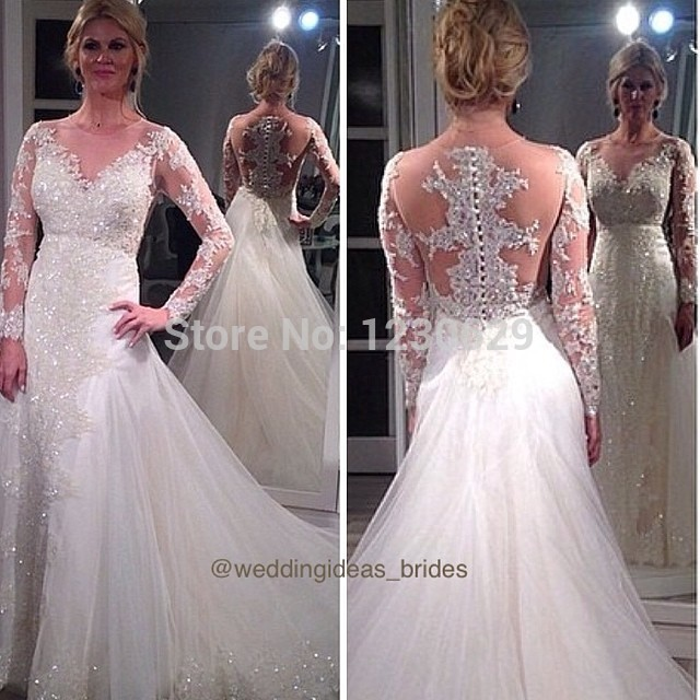 Glitter jewel long sleeve illusion backless with appliques for Add sparkle to wedding dress