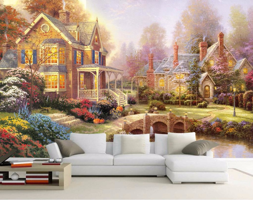 European style Oil painting Landscape Wallpapers For Living Room Bedroom 3d Wall Mmurals Wallpaper Home Improvement fashion circle flowers birds large mural wallpaper living room bedroom wallpaper painting tv backdrop 3d wallpapers for wall